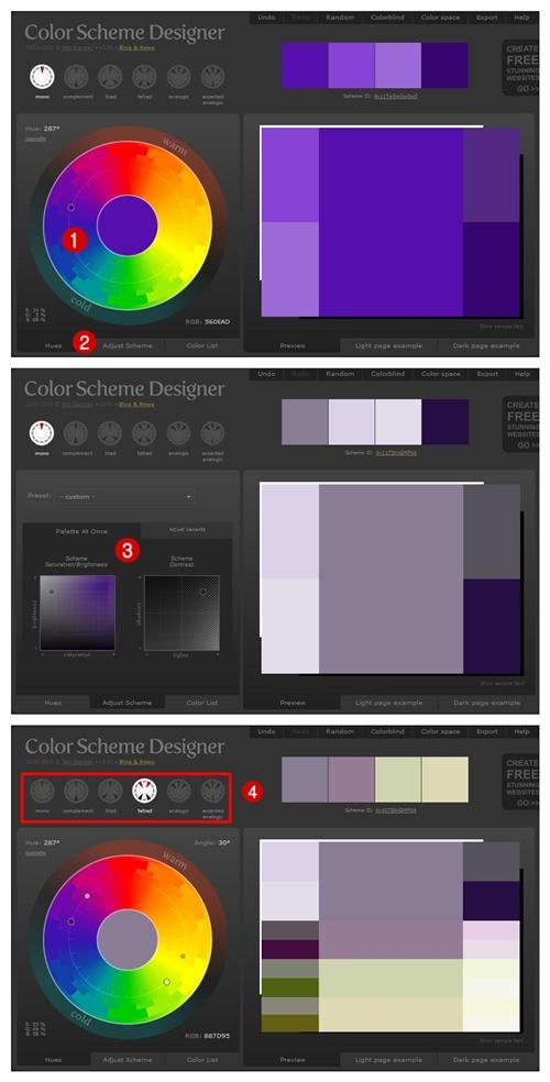... Color Scheme Designer. Como Utilizar:1. Esccolher A Cor Principal No  Círculo2. Clicar Em  Part 76